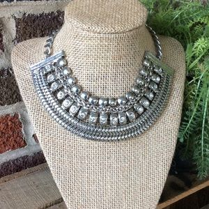 Erica Lyons Silver Tone Choker with Faux Crystal .